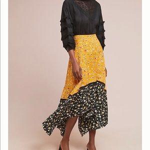 Isla Maude Yellow Floral Skirt Anthropologie NWT